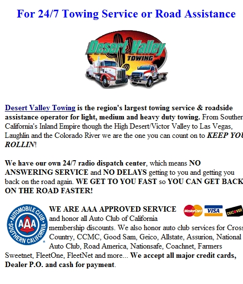 [ Heavy Duty Tow & Towing Service Hesperia, CA ]